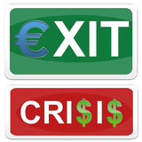 Sign an exit and a sign crisis Stock Photography
