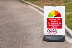 Sign for extreme fire danger Royalty Free Stock Photo