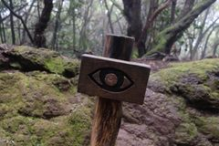Sign with an eye in forest of Anaga royalty free stock photos