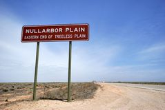 Sign on the Eyre Highway. Nullarbor Plain,of Treeless Plain, South Australia Royalty Free Stock Photo