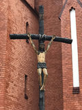 Sign of faith. Crucified Jesus on cross in Wroclaw, Poland Stock Images