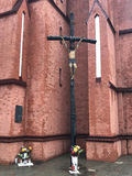 Sign of faith. Crucified Jesus on cross in Wroclaw, Poland Royalty Free Stock Photography