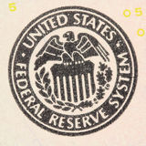 Sign the Federal Reserve System. Closeup Stock Photo