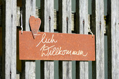 Sign on the fence stock photos