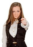 Woman shows the fig Royalty Free Stock Photo