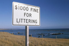 Sign with fines for litter Royalty Free Stock Photos