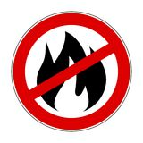 Sign fire ban - stock vector. Red sign fire ban icon - stock vector Royalty Free Stock Photo