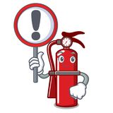 With sign fire extinguisher character cartoon. Vector illustration Stock Photos