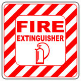 Sign of the fire extinguisher in vector, isolated over white Stock Images