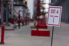 Sign fire hydrant. Red sign fire hydrant in the oil industry royalty free stock image