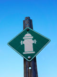 Sign with fire hydrant symbol Royalty Free Stock Images