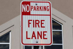 Sign Fire Lane. Near the store Royalty Free Stock Photos