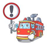 With sign fire truck character cartoon. Vector illustration Stock Image