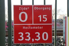 Sign for firefighters, paramedics and police where and which entrance it is to busy railroad track at Zwijndrecht. stock photo