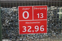 Sign for firefighters, paramedics and police where and which entrance it is to busy railroad track at Zwijndrecht. royalty free stock photos