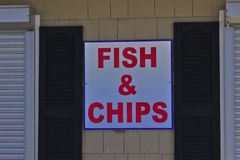 Sign fish and chips  royalty free stock photography