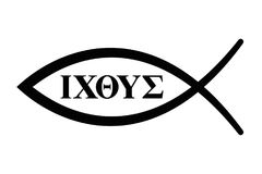 Sign of the fish with Greek letters for Ichthus Royalty Free Stock Photography