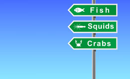 Sign fish squids crabs. Royalty Free Stock Image