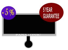 Sign a five year warranty and five percent discount cash. Panasonic TV with a five year guarantee and five percent discount if you pay cash Stock Image