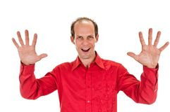 Portrait of happy smiling man showing ten fingers Stock Images