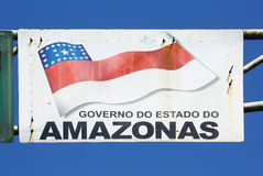 Sign with Flag of Amazonas state, Brazil Stock Photography