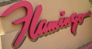 The sign for the Flamingo Hilton hotel. In Las Vegas, Nevada stock image
