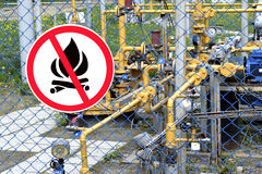 Sign Flammable on the fence. Of an industrial facility Royalty Free Stock Images