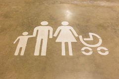 Sign on the floor of the family Stock Photography