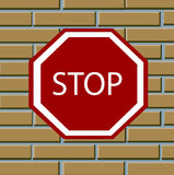Sign of the foots on brick wall Stock Images