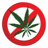 Sign forbidden cannabis Stock Photography