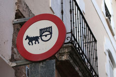 Sign of forbidden entry to vehicles with animals Stock Photo