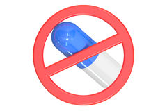 Sign forbidden with pill. Isolated on white background Royalty Free Stock Image