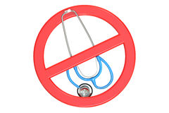 Sign forbidden with stethoscope Stock Photo