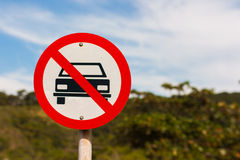Sign with forbidden stopping car Royalty Free Stock Images