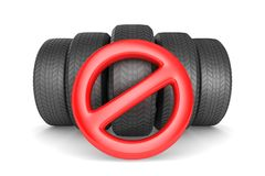 Sign forbidden and tire on white background. Isolated 3D illustr. Ation Royalty Free Stock Photos