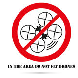 Sign. Forbidden zone for unmanned aerial vehicles. To design characters stock illustration