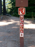 Sign forbidding dogs, biking, riding, tenting  on trail Royalty Free Stock Photo