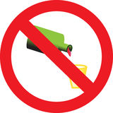 Sign forbidding drinking of alcohol drinks Stock Photography