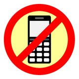 Sign forbidding to use the phone. Stock Photo