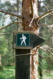 Sign on a forest trail. Hiking directional sign on the forest paths royalty free stock image