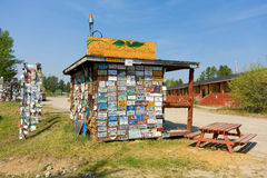 The sign forest at watson lake stock photography