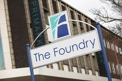 Sign for the The Foundry Shopping Centre - Scunthorpe, Lincolnsh. Ire, United Kingdom - 23rd January 2018 Stock Image