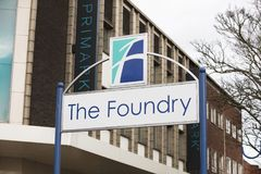 Sign for the The Foundry Shopping Centre - Scunthorpe, Lincolnsh. Ire, United Kingdom - 23rd January 2018 Royalty Free Stock Photo
