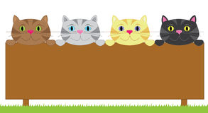 Sign with four cats. An illustration of a sign and four cats stock illustration