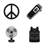 Sign of Freedom, a hair clipper and other web icon in black style. a fan, body armor icons in set collection. Stock Photo