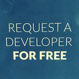 REQUEST A DEVELOPER FOR FREE SIGN. A sign at a freelance tech hub advertises that you can request a develop for no price stock photos
