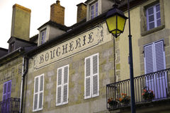 Sign for french butchery. Sign in a french village, reading boucherie Royalty Free Stock Photos
