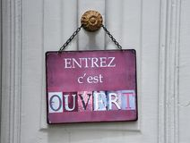 Sign at French shop Royalty Free Stock Photography