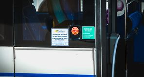 Sign in French For your safety the buses are equipped with a video surveillance system royalty free stock image