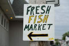 Sign for a Fresh Fish Market Stock Image